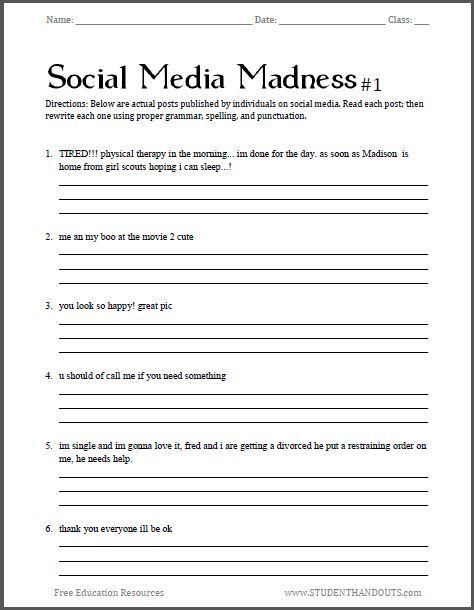 Social Media Madness Grammar Worksheet  1