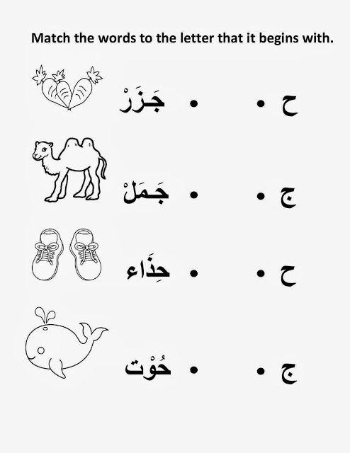 Arabic Worksheet On The Site, Met Welke Letter Begint Het Woord