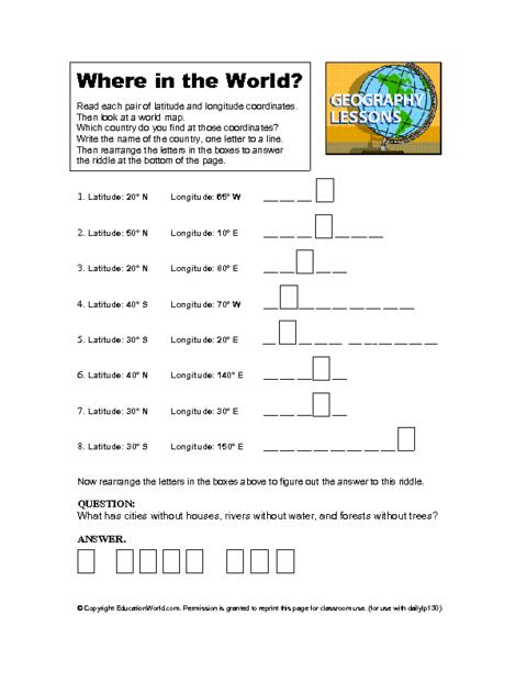 Education World  Latitude And Longitude Worksheet