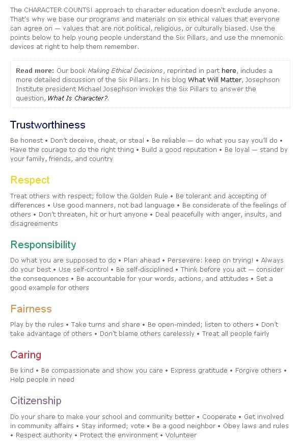 6 Pillars Of Character Worksheets Images Worksheet For Kids Maths