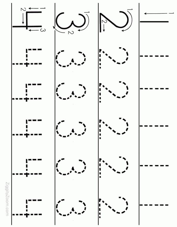 Number Tracing Worksheet Numbers 1 To 4