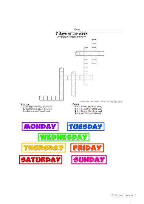 7 Days Of The Week Worksheet