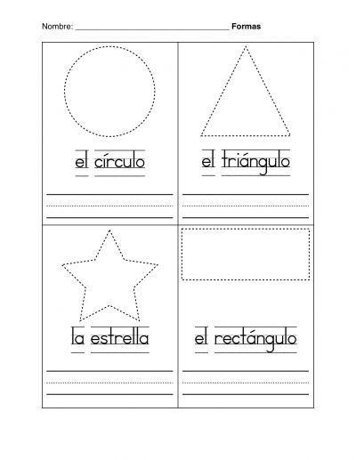Printable Preschool Shape Worksheets For Spanish