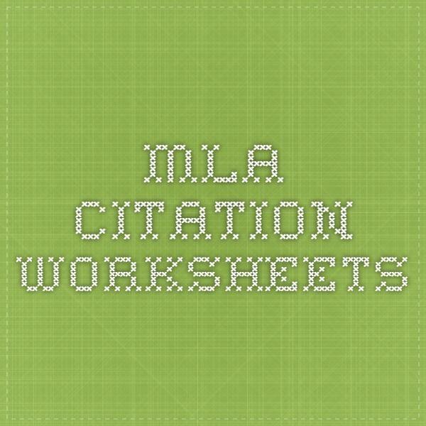 Mla Citation Worksheets  Great Fill