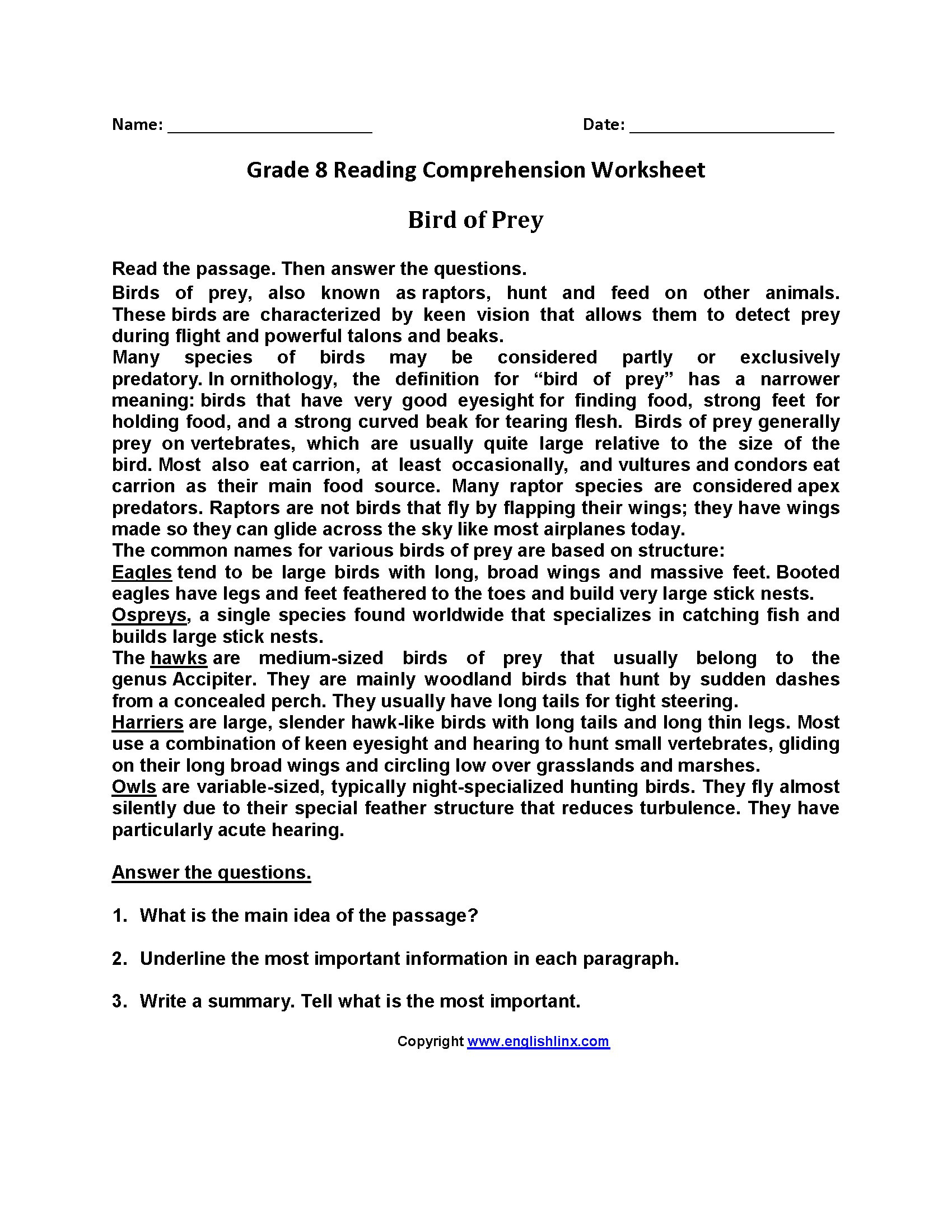 8th Grade Reading Worksheets Free Printable Luxury 6th Grade