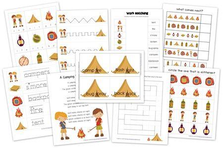 Educational Freebie  Printable Camping Preschool Pack