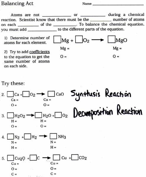 Balanced Chemical Equations Worksheet
