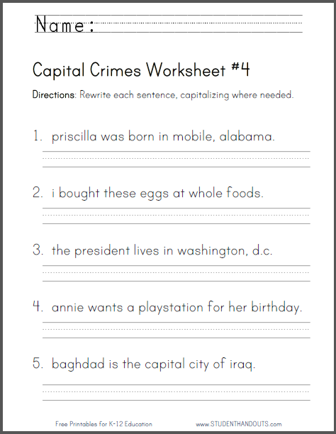 Capital Crimes Worksheet  4