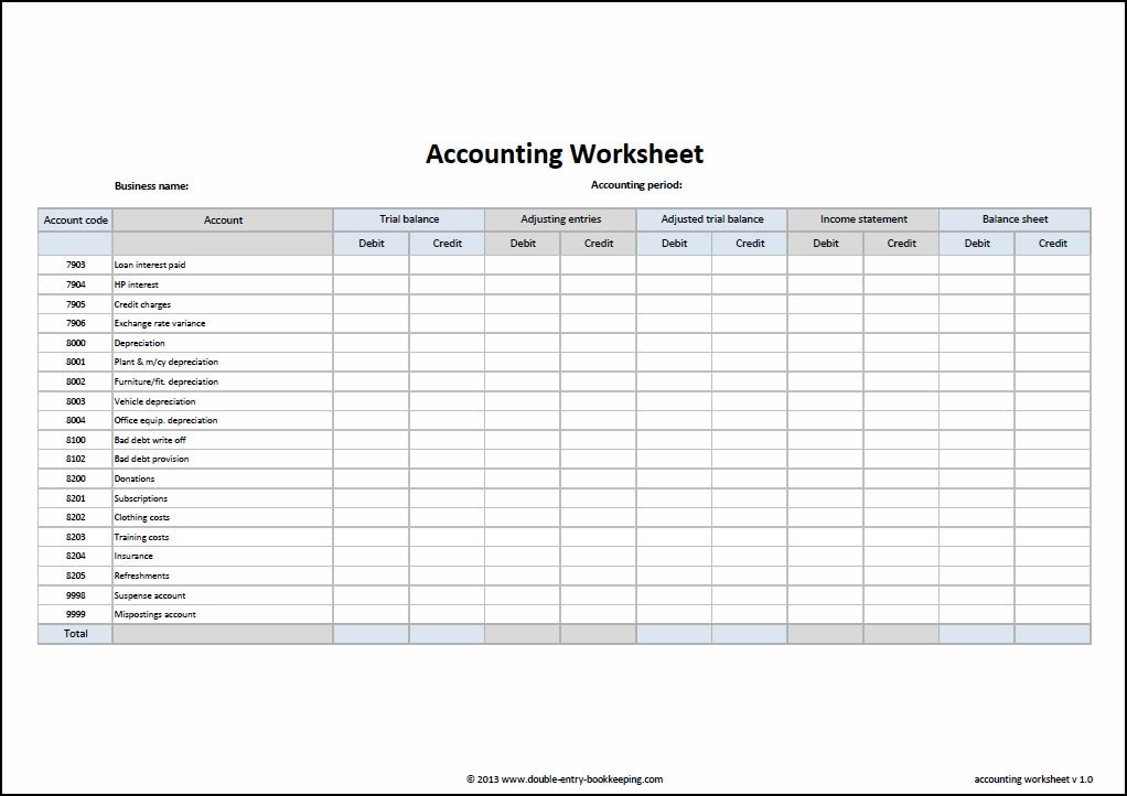 Accounting Worksheet Excel Template