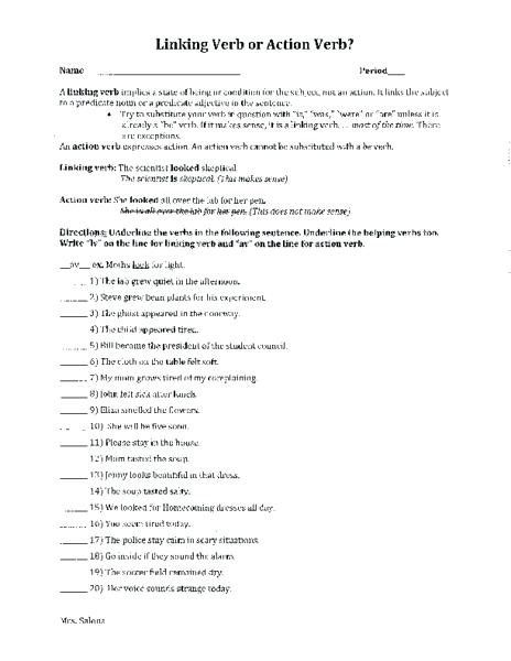 Action Verb Worksheets 4th Grade