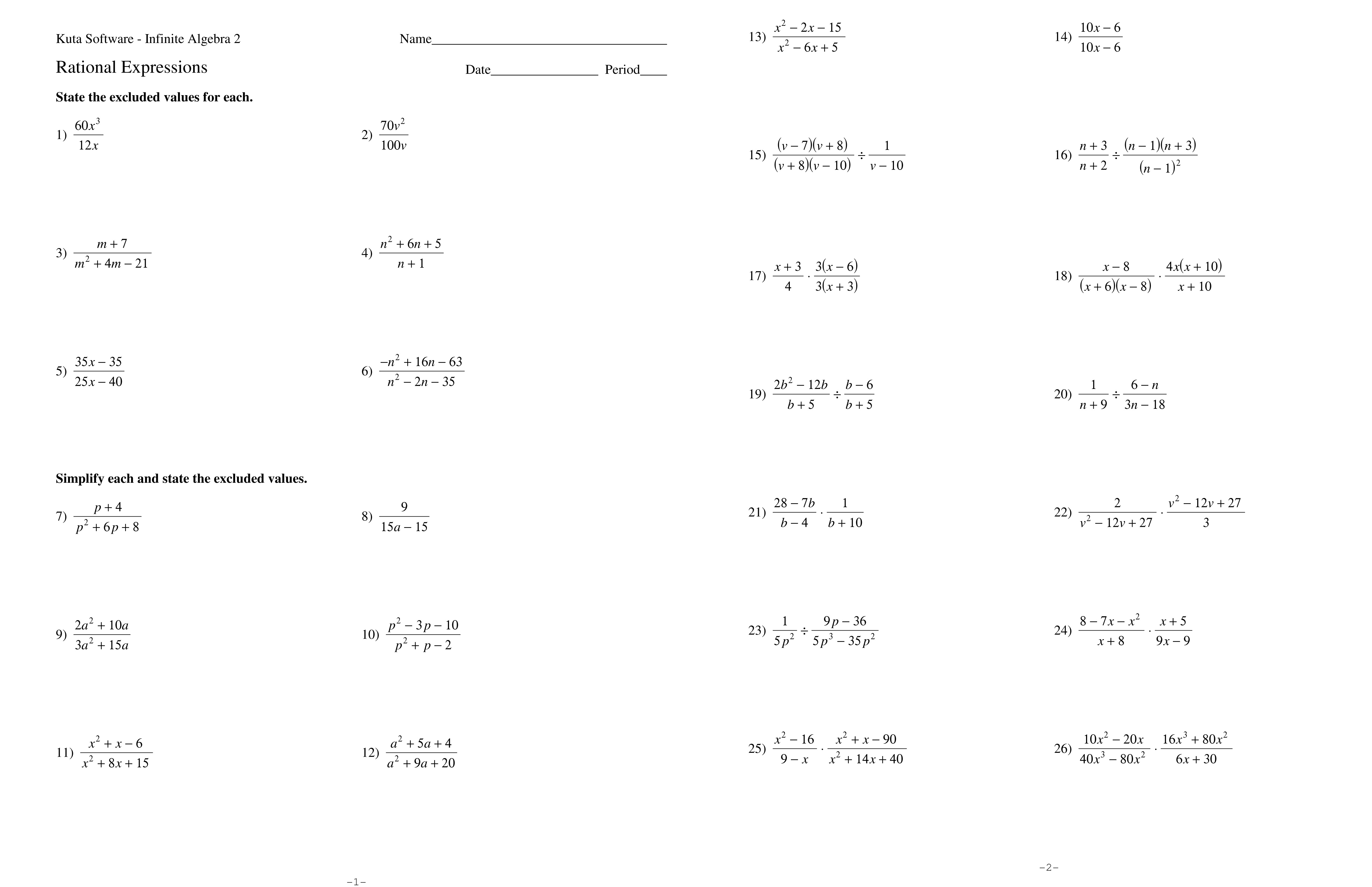 Adding And Subtracting Rational Expressions Worksheet Answers 8 2