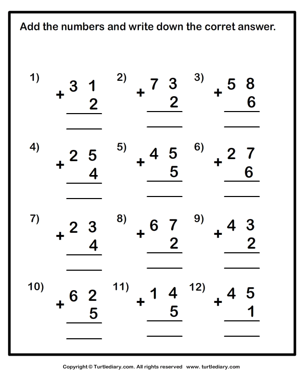 Addition Without Regrouping Worksheets For Grade 1 Worksheets For