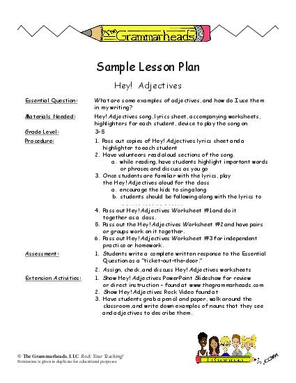 Adjectives Worksheet Packet And Lesson Plan
