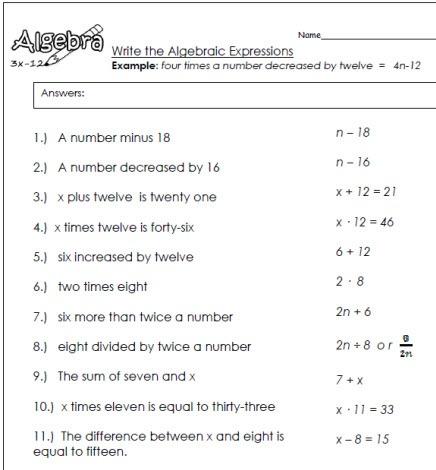 Write Algebraic Expressions Worksheets