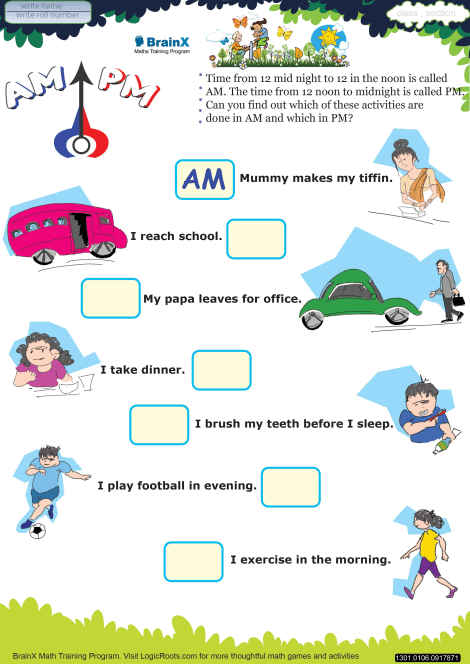 Ampm Math Worksheet For Grade 1