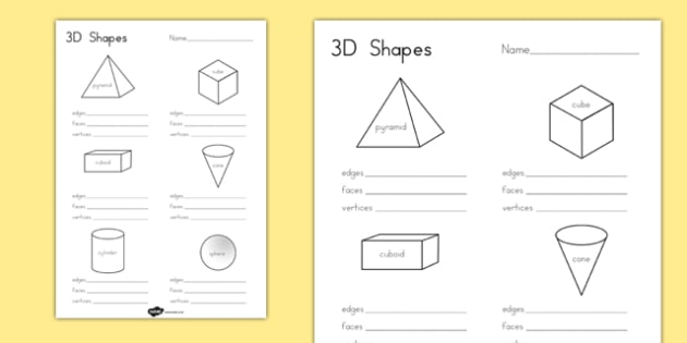 3d Shape Properties Worksheets
