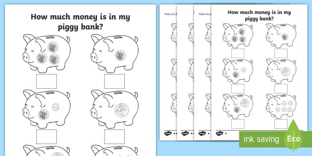 How Much Money Is In My Piggy Bank  Specific Amounts Worksheets