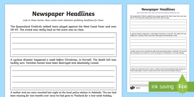 Newspaper Headlines Higher Ability Writing Worksheet   Activity