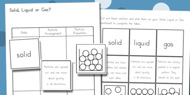 Solid, Liquid, Gas Worksheet