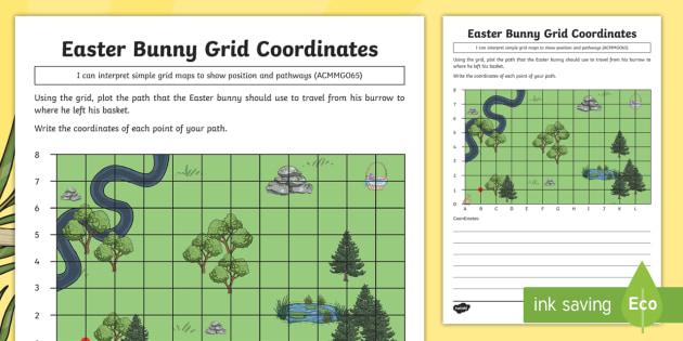 Year 3 Easter Bunny Grid Coordinates Worksheet   Activity Sheet