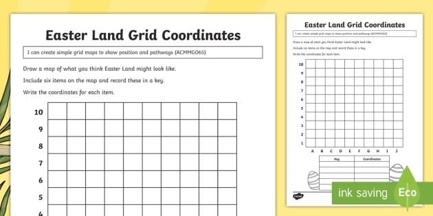 Year 3 Easter Land Grid Coordinates Worksheet   Activity Sheet