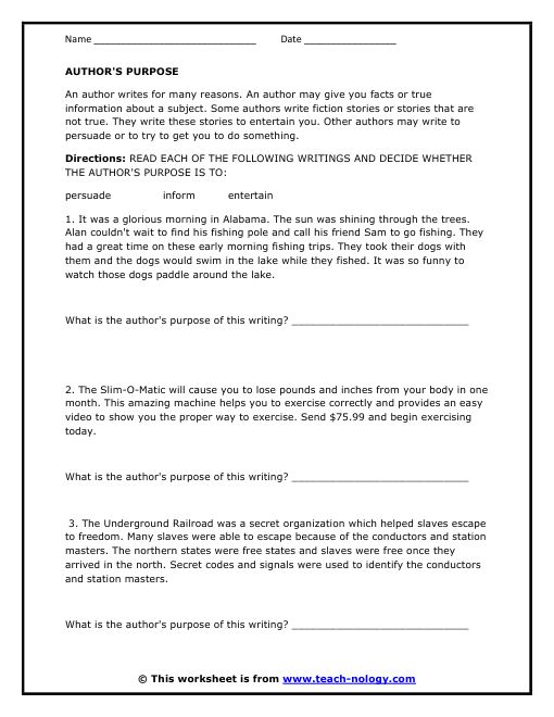 Author S Purpose Worksheet 5th Grade Worksheets For All