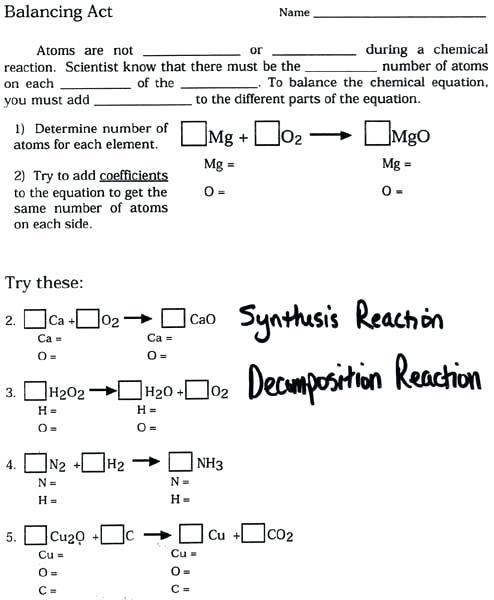 Balanced Chemical Equations Worksheet Balancing Packet Writing And