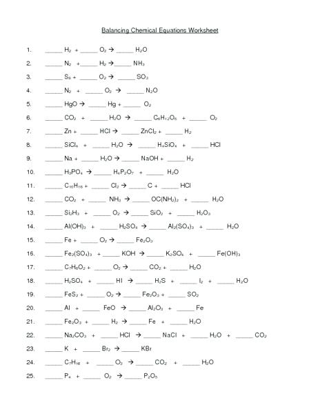 Balancing Chemical Equation Worksheet Equations Worksheets For All