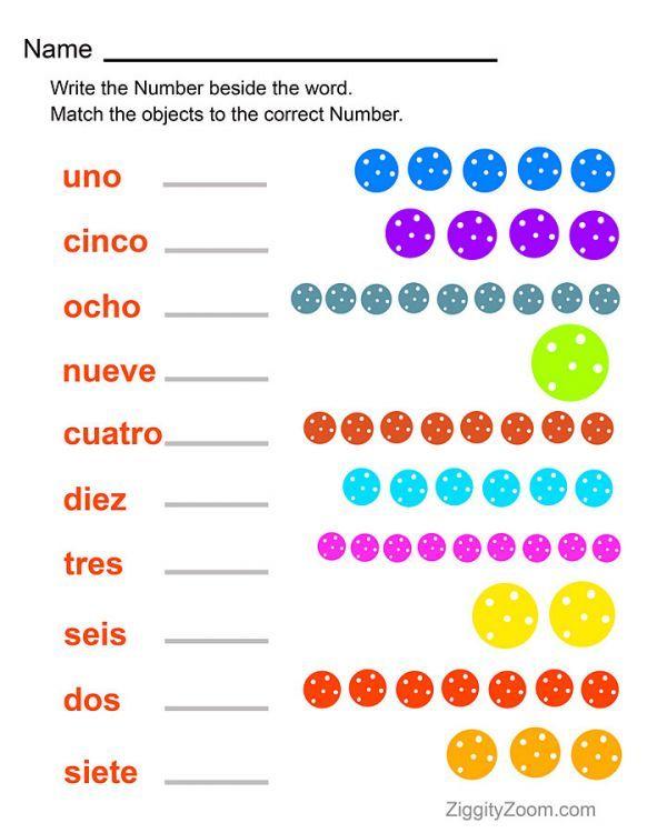 Spanish Numbers Printable Worksheet