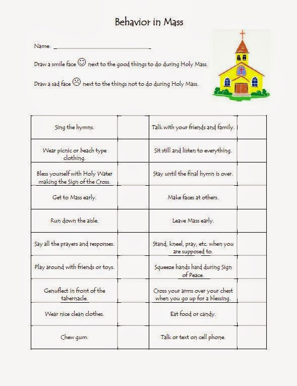 The Catholic Toolbox  Behavior In Mass Worksheet