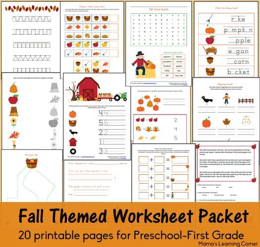 Free Fall Worksheet Packet For Preschool