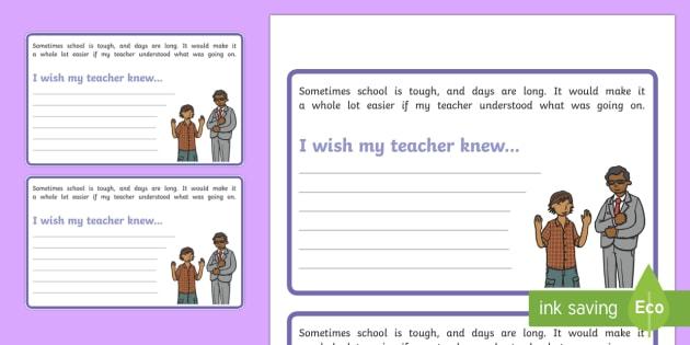 I Wish My Teacher Knew Worksheet   Activity Sheet