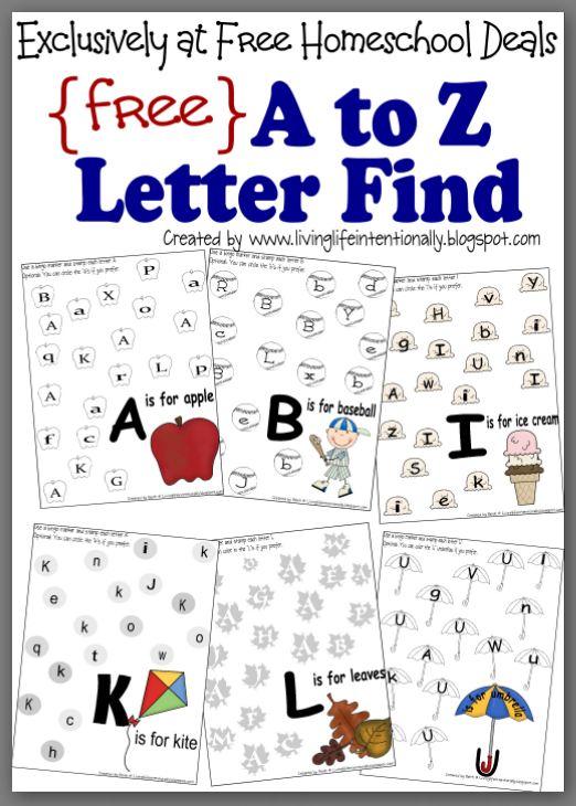Free Instant Download  Complete A To Z Letter Find Worksheet