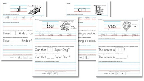 Free Worksheets  Kindergarten (primer) Sight Word Sentences