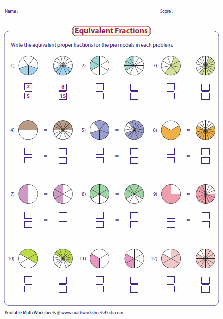 Writing Equivalent Fractions Using Pie Model …