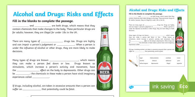 Cfe (second) Alcohol And Drugs Fill In The Blanks Worksheet