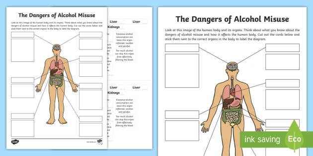 Cfe (second) The Dangers Of Alcohol Misuse Labelling Worksheet