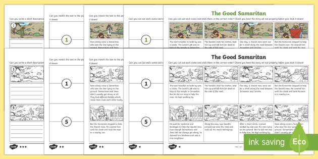 The Good Samaritan Differentiated Sequencing Worksheet
