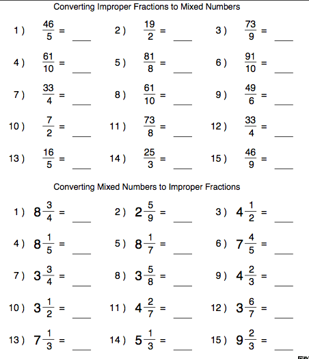 Change Improper Fractions To Mixed Numbers Worksheet Worksheets