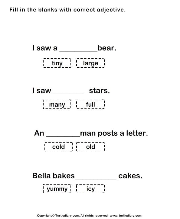 Choose Adjectives To Complete Sentences Worksheet