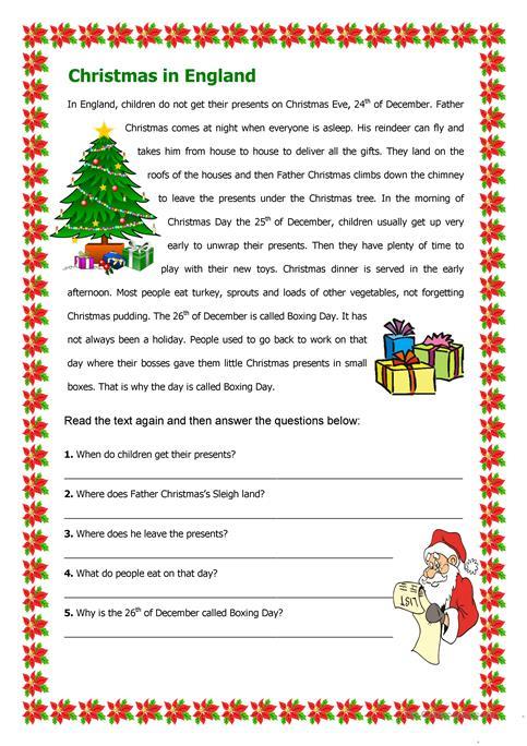 Christmas In England Worksheet