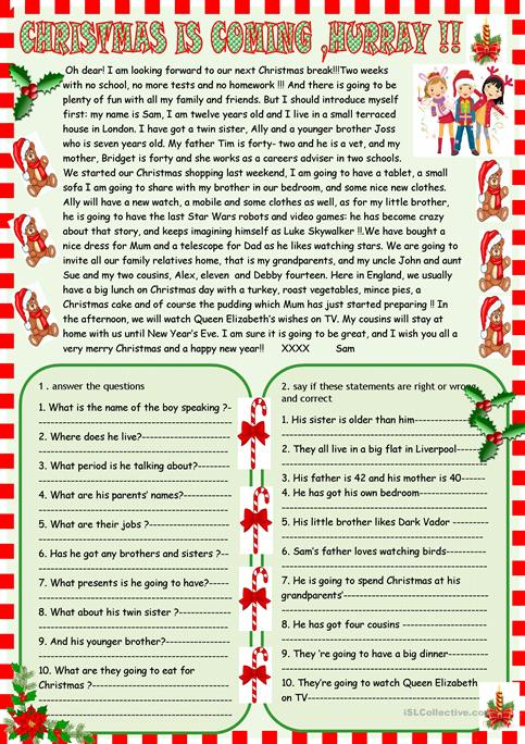 Christmas Is Coming   Reading Comprehension Worksheet