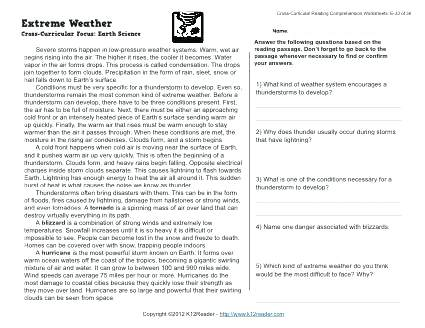 Grade Science Weather Worksheets 6 Com – Chzsm Info