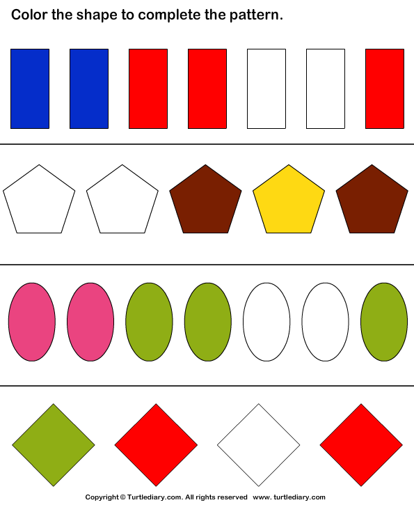 Complete The Shapes And Color Pattern Worksheet