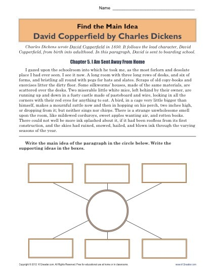 High School Main Idea Worksheet About The Book, David Copperfield