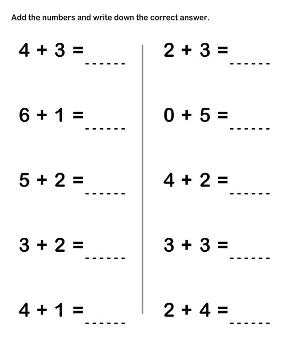Math Sheets For Grade 1