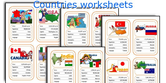 Countries Worksheets