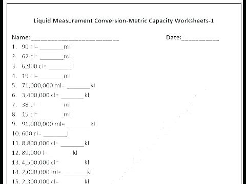 Customary Units Of Weight Worksheets Free Metric Measurement