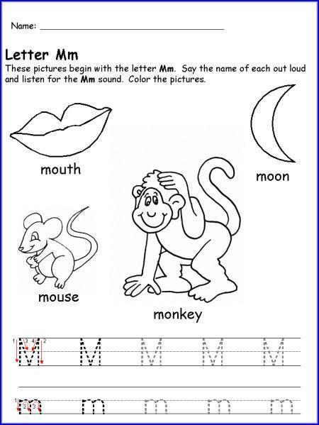 Letter M Worksheet For Kindergarten