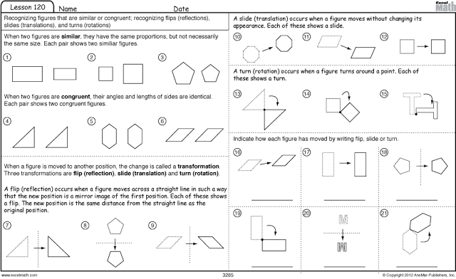 Similar Shapes, Congruent Shapes And Transformation